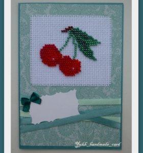 Открытка ручной работы с вышивкой бисером