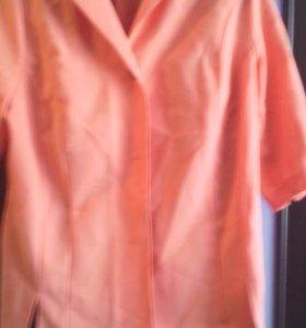 Летний пиджак каралловый цвет,большой р-р