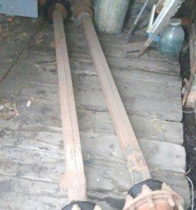 Ось со ступицами от тракторного прицепа 2 птс-4.