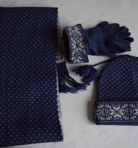 Синий зимний комплект - шапка, шарф и перчатки