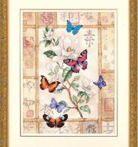 "Набор для вышивания Dimensions ""Бабочки на цветке"""