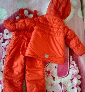 Зимний комплект для девочки + шапка и варежки