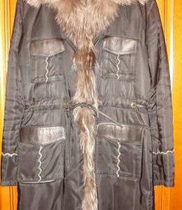 Пальто на меху из непромокаемой ткани.