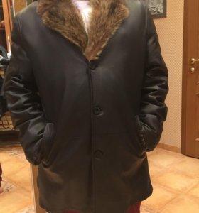 Куртка кожаная зимняя на волчьем меху