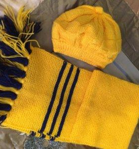 Шерстяная шапочка и шарф
