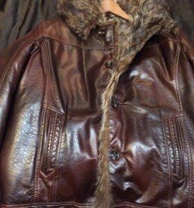 Зимняя мужская куртка р.52-54 Искуств. кожа и мех