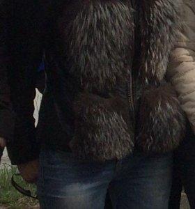 Куртка кожаная- трансформер с мехом песца