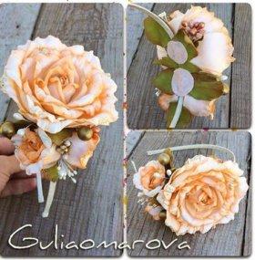 Ободки ручной работы ,цветы из фоамерана