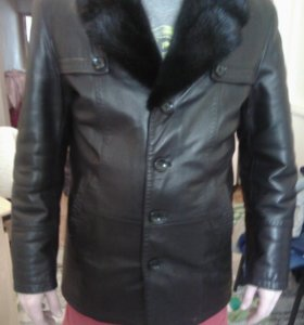 Куртка коженая мех норки
