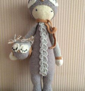 Кукла амигуруми в костюме совы