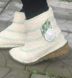 Вязанные осенние-весенние ботинки