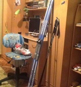 Лыжи ботинки р 36 палки новое