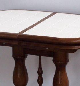 Столы из массива с керамической плиткой