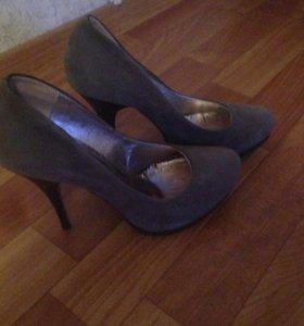 Туфли замша, цвет серый