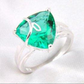 Кольцо женское зеленый топаз серебро