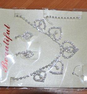 Набор: колье, кольцо, браслет и сережки