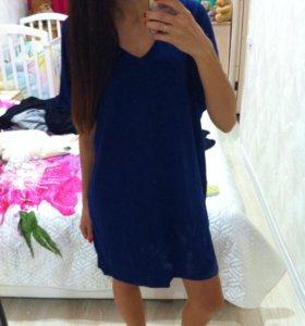 Новое темно синие платье 46р