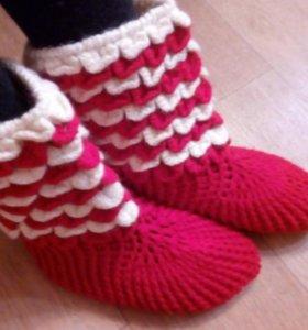 Носки-тапочки вязаные, новые!