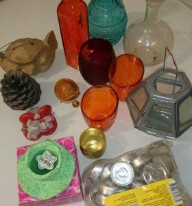 Подсвечники,свечи,вазочки,фигурки