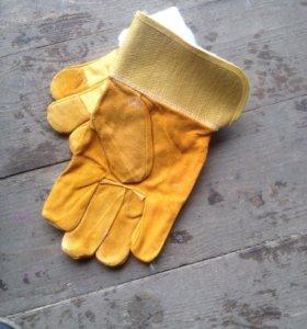 Перчатки спилк с мехом