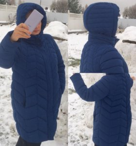 Модная зимняя куртка синего цвета большие размеры