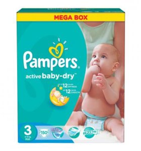 Подгузники Pampers Active Baby 4-9 кг. 150 шт. mid