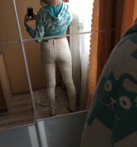 Бежевые джинсы RI с высокой талией