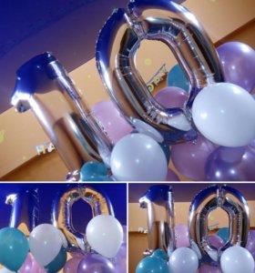 Фольгированные шары (круги, цифры, звезды, фигуры)