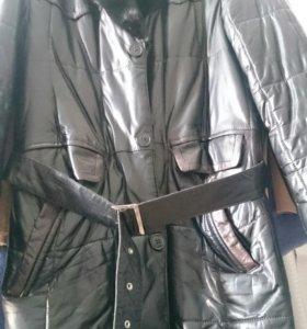 Мужское кожанное зимнее пальто