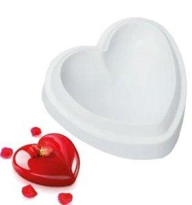 Силиконовая форма сердце для муссовых тортов