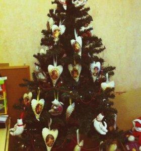 Новогодние игрушки на елку ручной работы Тильда