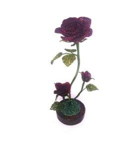 Роза (цветы из бисера)