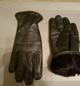 Перчатки мужские, теплые, кожанные