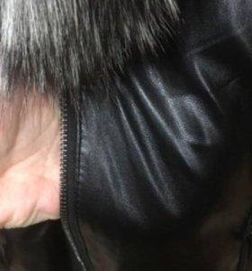Пуховик кожзам