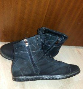 Зимние замшевые ботинки с натуральным мехом