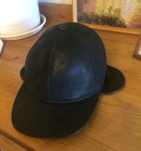 Новая кожаная шапка с мехом мужская