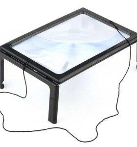 Лупа настольная линза Френеля 3х столик