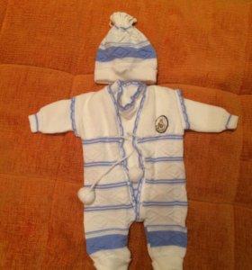 Вязанный костюм для новорождённого