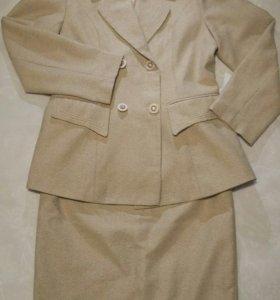 Меланжевый костюм (жакет+юбка)