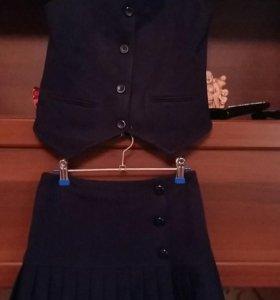 Школьный сарафан, комплект школьный (юбка и жилет)