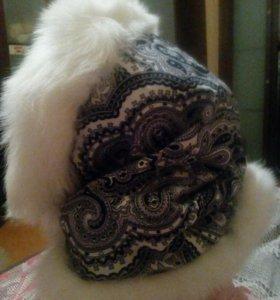 Косынка с мехом лисы и павлопосадсктй платок