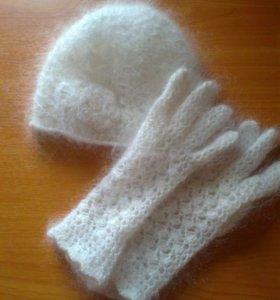 Пуховые перчатки, шапочка.