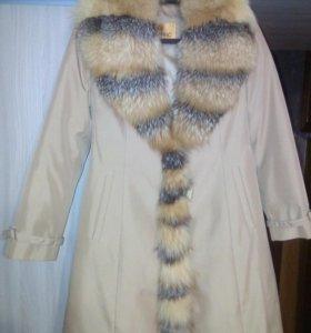 Зимнее пальто, мех лисицы