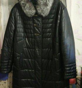 Зимнее кожаное пальто с мехом 58р.-60р.