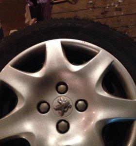 Зимняя резина липучка+ штампованные диски(Peugeot)