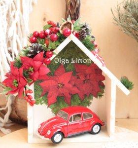 Домик декор с цветами