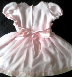 Нарядное розовое платье, длина 50 см