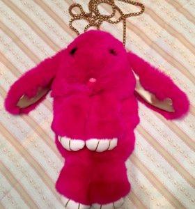 Розовый заяц Сумка-клатч на цепочке из меха кролик