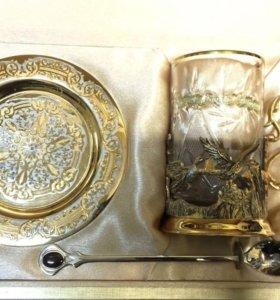 Набор чайный позолота