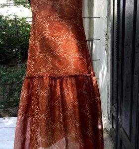 Винтажное летнее платье, 100% шелк